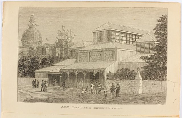 An image of Historical exterior view of the Fine Arts Annexe to the Sydney International exhibition