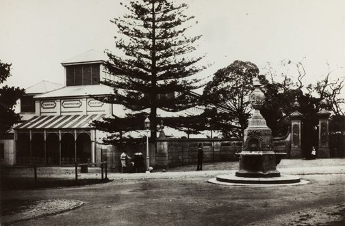 An image of Historical exterior view of the now demolished original Art Gallery of New South Wales in the Botanic Gardens by Unknown