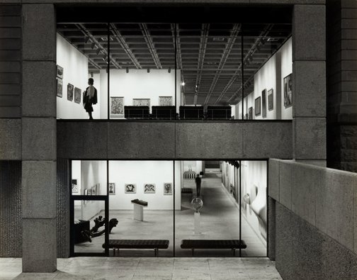 An image of Historical interior night view into the Art Gallery of New South Wales from the northern sculpture court by Max Dupain