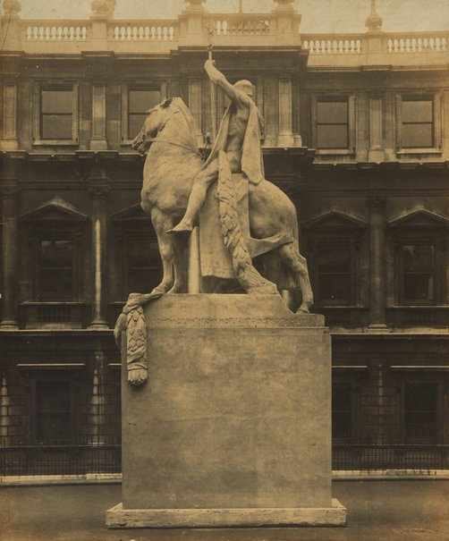 An image of Full size plaster cast of 'The offerings of War' by Gilbert Bayes on display at the Royal Academy, London by Hilaire D'Arcis
