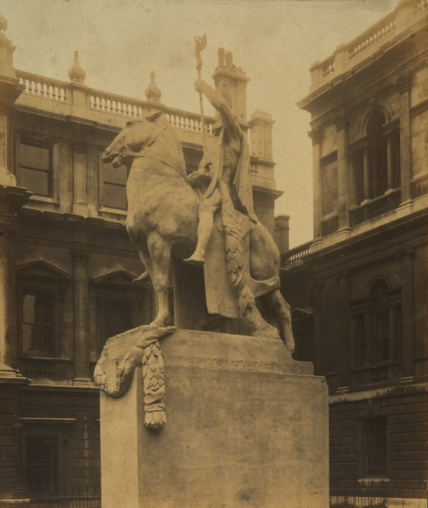 An image of Full size plaster cast of 'The offerings of War' by Gilbert Bayes on display at the Royal Academy, London