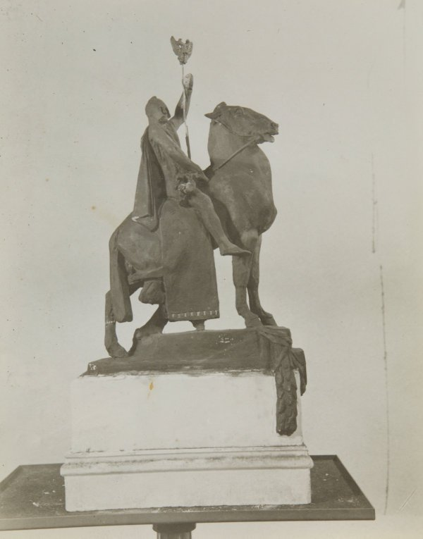 An image of Image of the small plaster cast of 'The offerings of War' by Gilbert Bayes