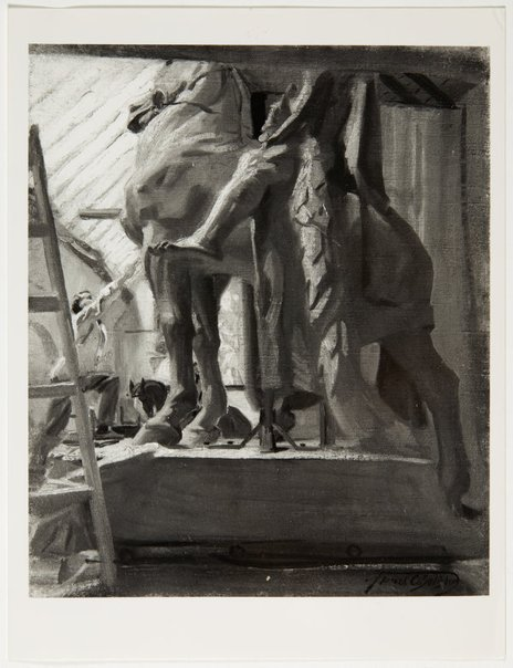 An image of Image of 'Gilbert Bayes at work on the plaster cast of War' c.1927 by Frank Salisbury by Unknown