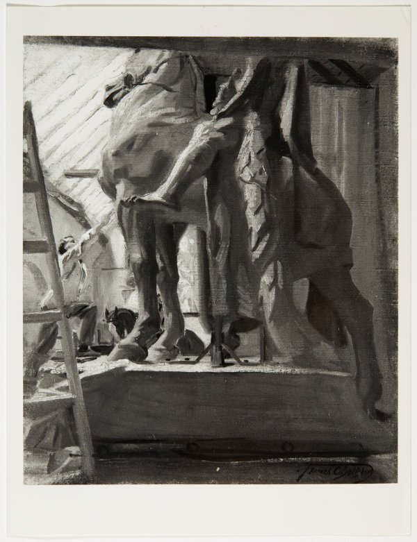 An image of Image of 'Gilbert Bayes at work on the plaster cast of War' c.1927 by Frank Salisbury