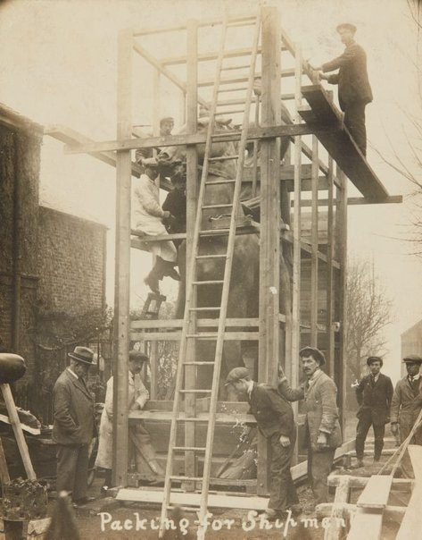 An image of 'The offerings of war' 1923 by Gilbert Bayes being packed for shipment from London to Sydney by Unknown