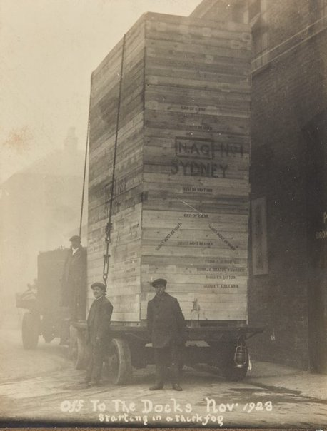 An image of 'The offerings of war' 1923 by Gilbert Bayes, crated and ready for shipment from London to Sydney by Unknown