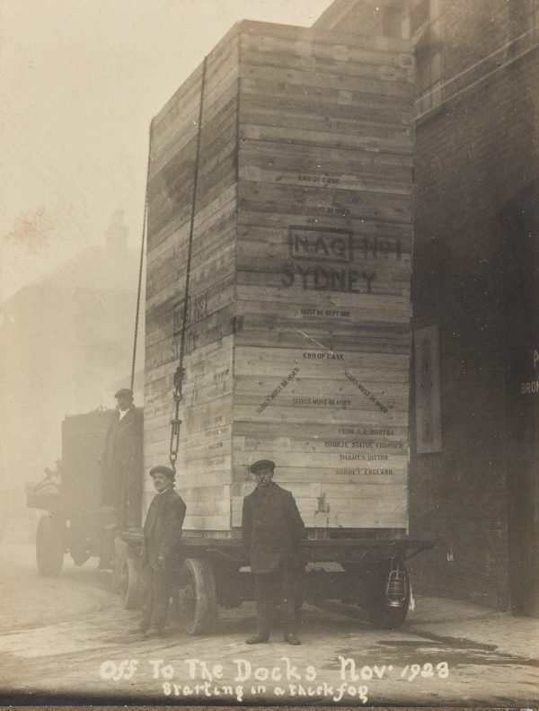 An image of 'The offerings of war' 1923 by Gilbert Bayes, crated and ready for shipment from London to Sydney