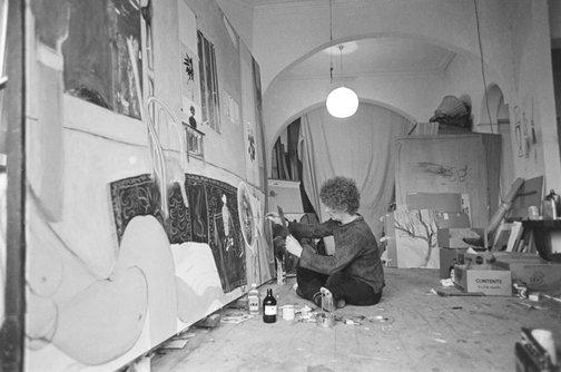 An image of Brett Whiteley working on 'Self portrait in the studio' 1977 by Robert Walker