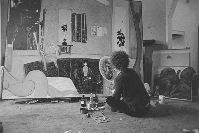 An image of Brett Whiteley working on 'Self portrait in the studio' 1977