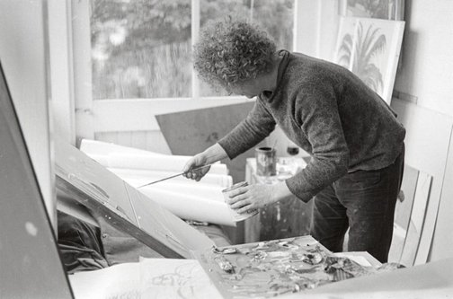 An image of Brett Whiteley in his studio by Robert Walker