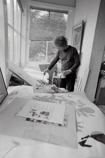 An image of Brett Whiteley in his studio by Robert Walker