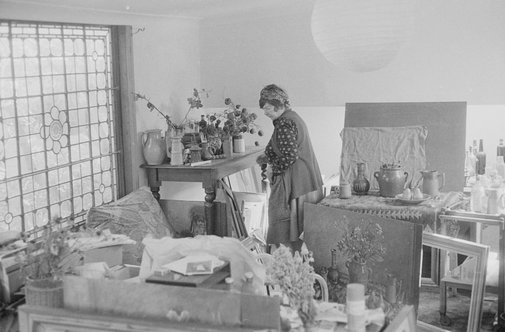 An image of Margaret Olley in her studio at Paddington, Sydney by Robert Walker
