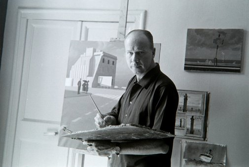 An image of Jeffrey Smart in his studio by Robert Walker