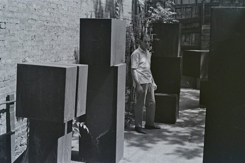 An image of Clement Meadmore with sculptures by Robert Walker