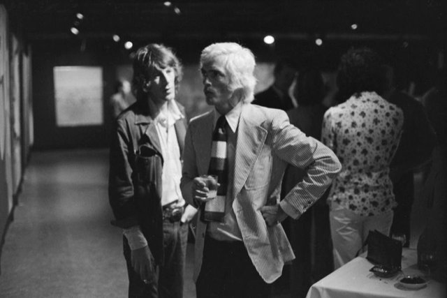 An image of Peter Powditch with Peter 'Charlie' Brown at the Biennale of Sydney Artists' Party