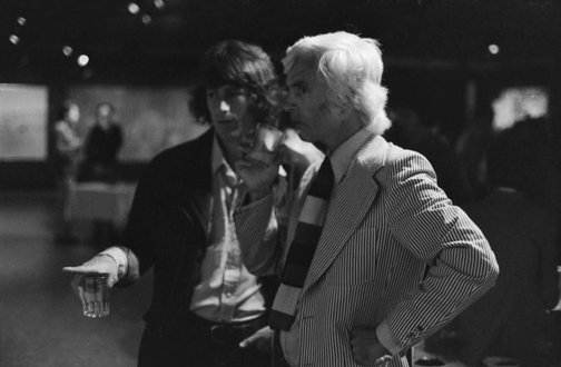 An image of Peter Powditch with Peter 'Charlie' Brown at the Biennale of Sydney Artists' Party by Robert Walker
