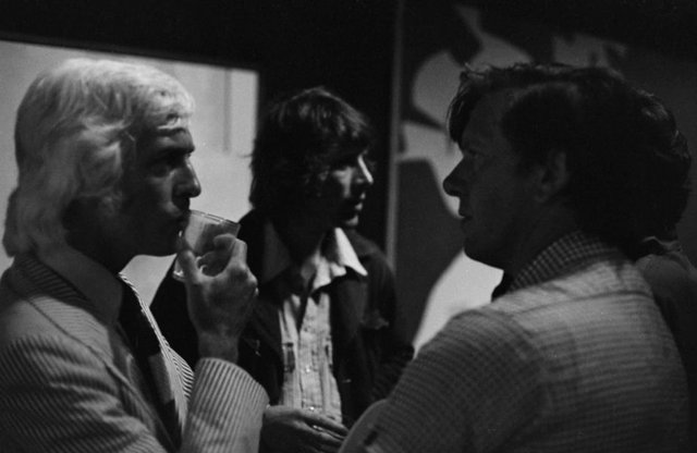 An image of Peter Powditch with Joe Szabo and Peter 'Charlie' Brown at the Biennale of Sydney Artists' Party