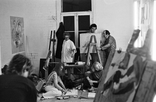 An image of John Olsen, Andrew Yeates and others at the Bakery School, Sydney by Robert Walker