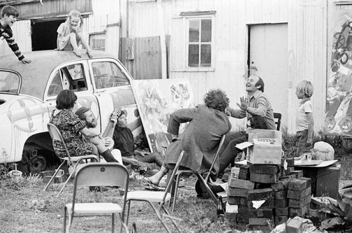 An image of John Olsen with his son Tim, his daughter Louise, the artist Clifton Pugh, Marlene Pugh and others at 'Dunmoochin', Cottles Bridge, Victoria by Robert Walker
