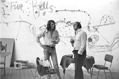 An image of John Olsen and artist Peter Powditch celebrating the completion of Olsen's commission for the Sydney Opera House by Robert Walker