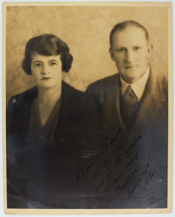 An image of Studio portrait of Rhoda and Rupert Tribe, parents of Barbara Tribe