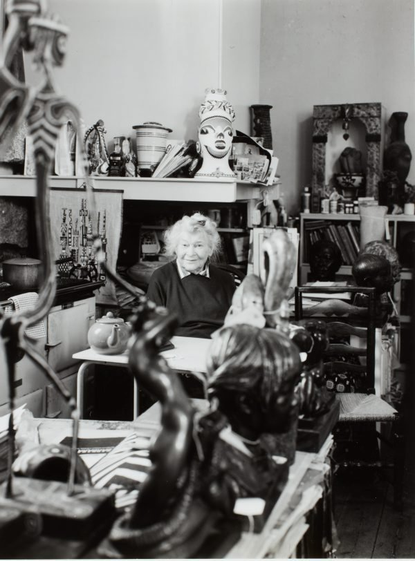 An image of Barbara Tribe in the kitchen of her home, 'The Studio', Sheffield, Cornwall