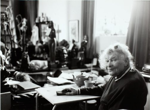 An image of Barbara Tribe in her home, 'The Studio', Sheffield, Cornwall by Unknown