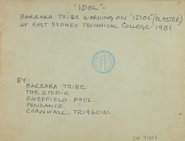 An image of Barbara Tribe working on 'Idol' 1931