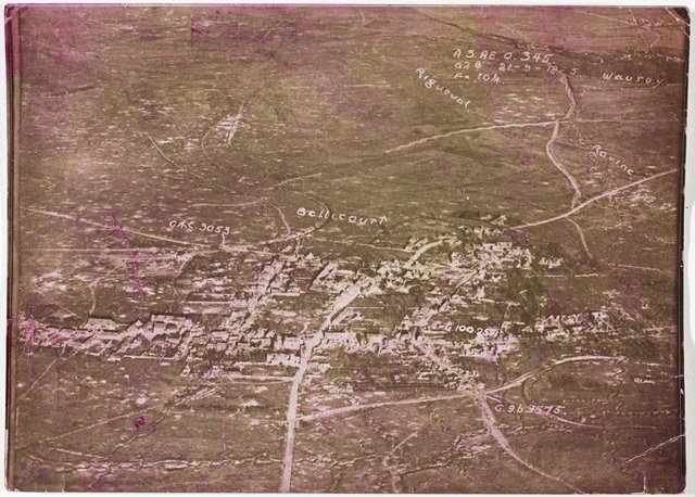 An image of Aerial view of bombing around Bellicourt, France