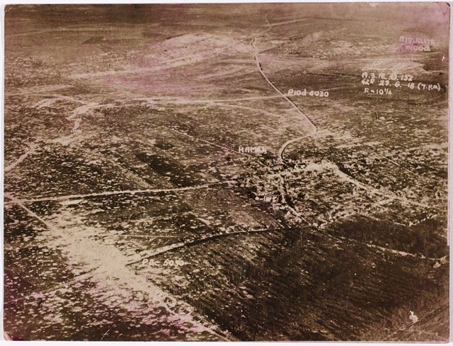 An image of Aerial view of bombing around Hamel, France