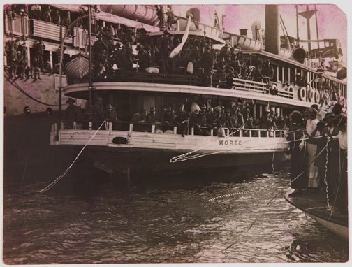 An image of Soldiers embarking on the Koree by Unknown