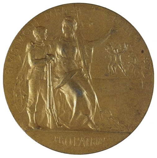 An image of Pro Patria medal by Paul Grandhomme