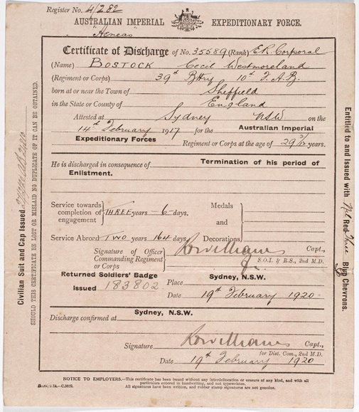 An image of Certificate of Discharge from the Australian Imperial Expeditionary Force by Australian Imperial Force (AIF)