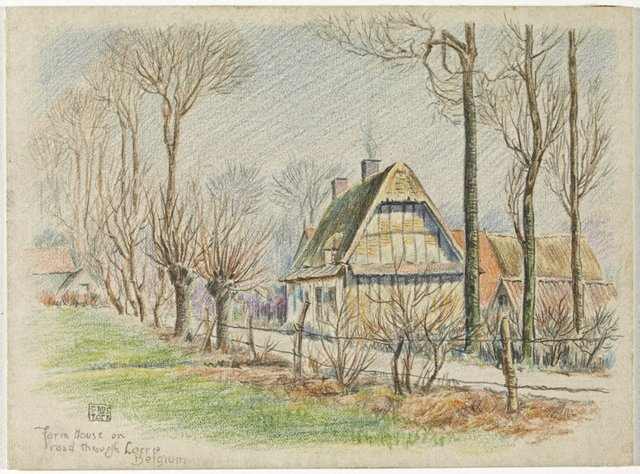 An image of Farm House on road through Lacre, Belgium