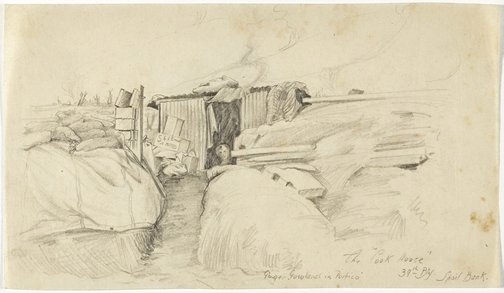 """An image of The """"Cook House"""" 39th Battery, Spoil Bank by Cecil Bostock"""