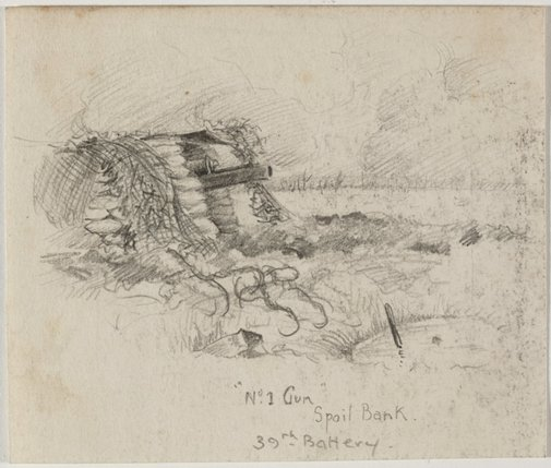 An image of No.1 gun, Spoil Bank, 39th Battery by Cecil Bostock