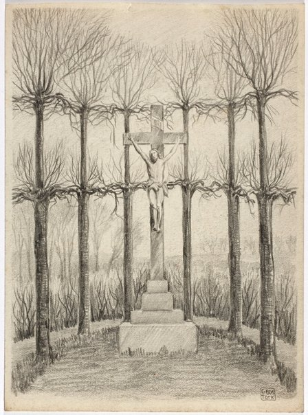 An image of Untitled (Roadside crucifix, Flanders) by Cecil Bostock