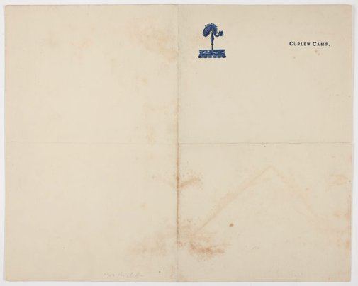 An image of Embossed letterhead writing paper for the Curlew Camp by Frederick Lane