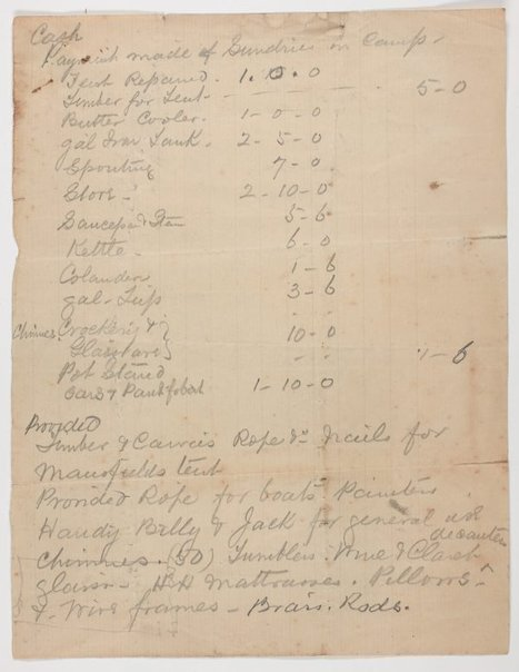 An image of Cash expenses at Curlew Camp by Frederick Lane