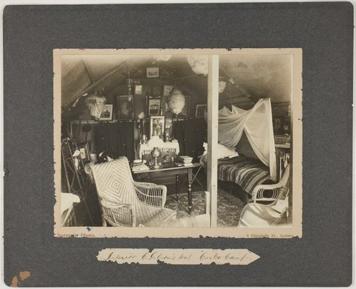 An image of Interior of G. Gibson's tent, Curlew Camp by Roland Norman