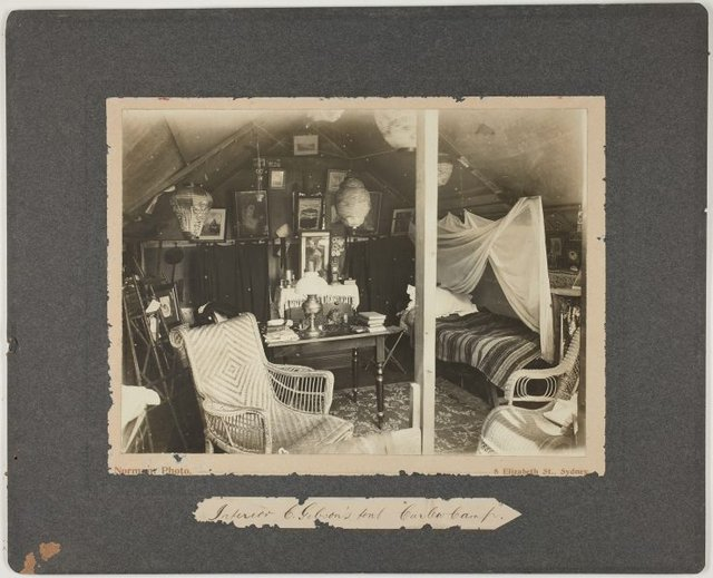 An image of Interior of G. Gibson's tent, Curlew Camp