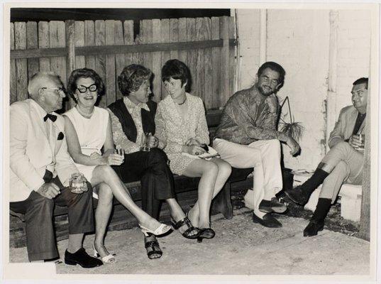 Alternate image of Oscar Edwards, Mrs Oscar Edwards, Lily Lynn, Pat James, Louis James and Elwyn Lynn at Sheila McDonald's party, Woolloomooloo by Hal Missingham