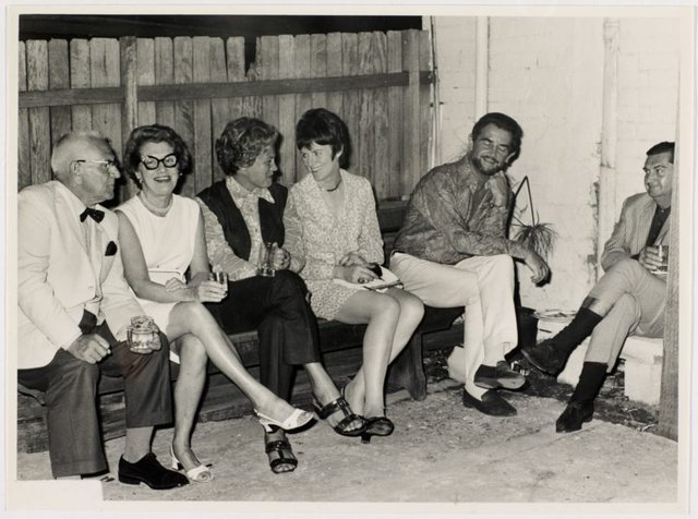 An image of Oscar Edwards, Mrs Oscar Edwards, Lily Lynn, Pat James, Louis James and Elwyn Lynn at Sheila McDonald's party, Woolloomooloo