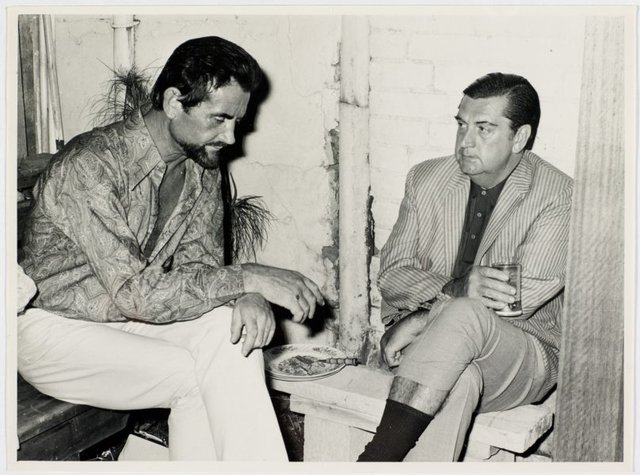An image of Louis James and Elwyn Lynn at Sheila McDonald's party, Woolloomooloo