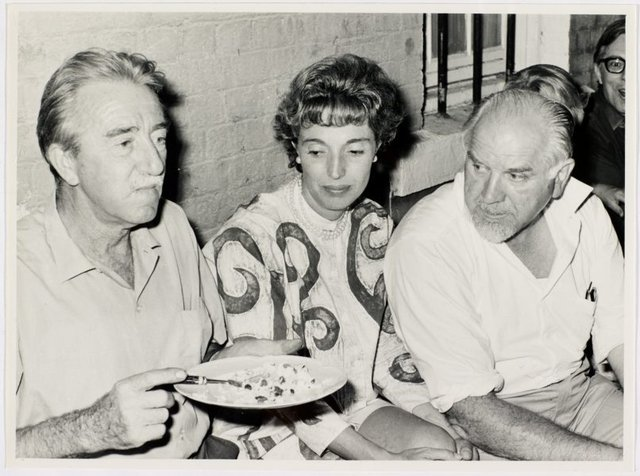 An image of Darcy Robinson, Mrs Stanislaus Rapotec and Stanislaus Rapotec at Sheila McDonald's party, Woolloomooloo