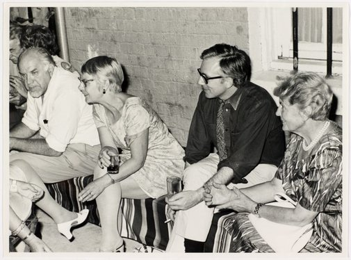 An image of Stanislaus Rapotec, Esther Missingham, Daniel Thomas and Mrs Feuerring at Sheila McDonald's party, Woolloomooloo by Hal Missingham