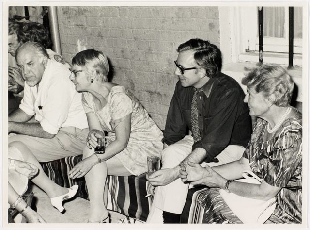 An image of Stanislaus Rapotec, Esther Missingham, Daniel Thomas and Mrs Feuerring at Sheila McDonald's party, Woolloomooloo