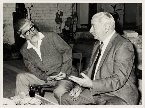 An image of Weaver Hawkins and Maximilian Feuerring at Sheila McDonald's party, Woolloomooloo by Hal Missingham