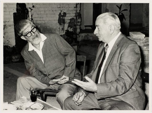 An image of Weaver Hawkins and Maximilian Feuerring at Sheila McDonald's party, Woolloomooloo