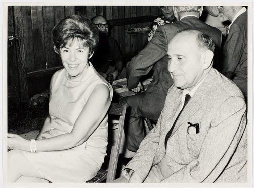 An image of Judy Cassab and Jancsi Kampfner at Sheila McDonald's party, Woolloomooloo by Hal Missingham